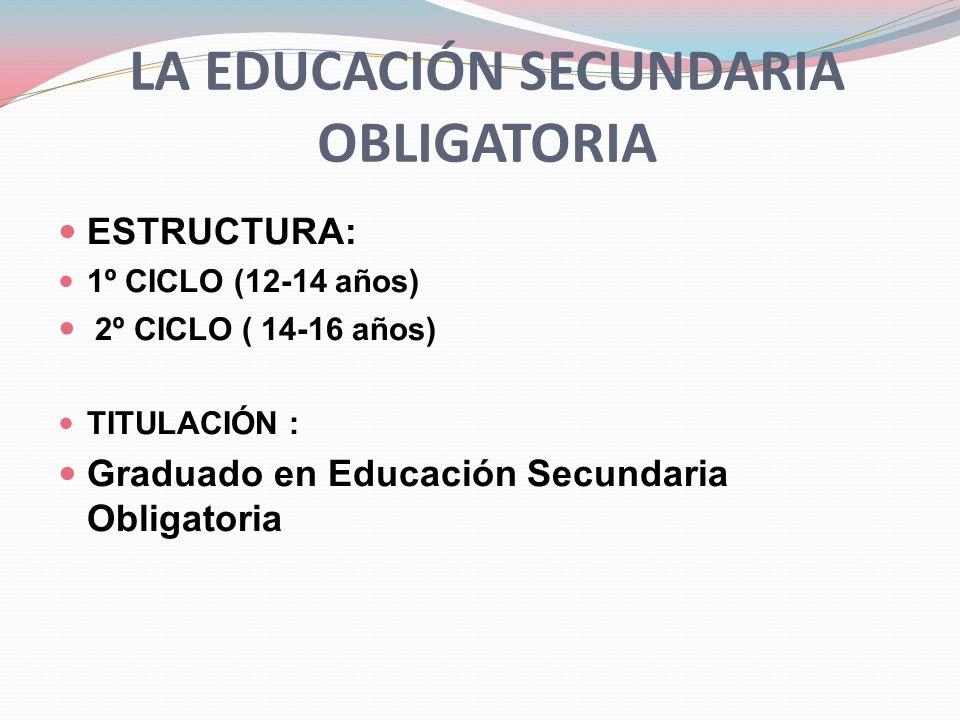 LA EDUCACIÓN SECUNDARIA OBLIGATORIA El título de Graduado en ESO permitirá acceder a: Bachillerato.