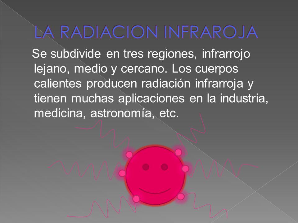 Se subdivide en tres regiones, infrarrojo lejano, medio y cercano. Los cuerpos calientes producen radiación infrarroja y tienen muchas aplicaciones en