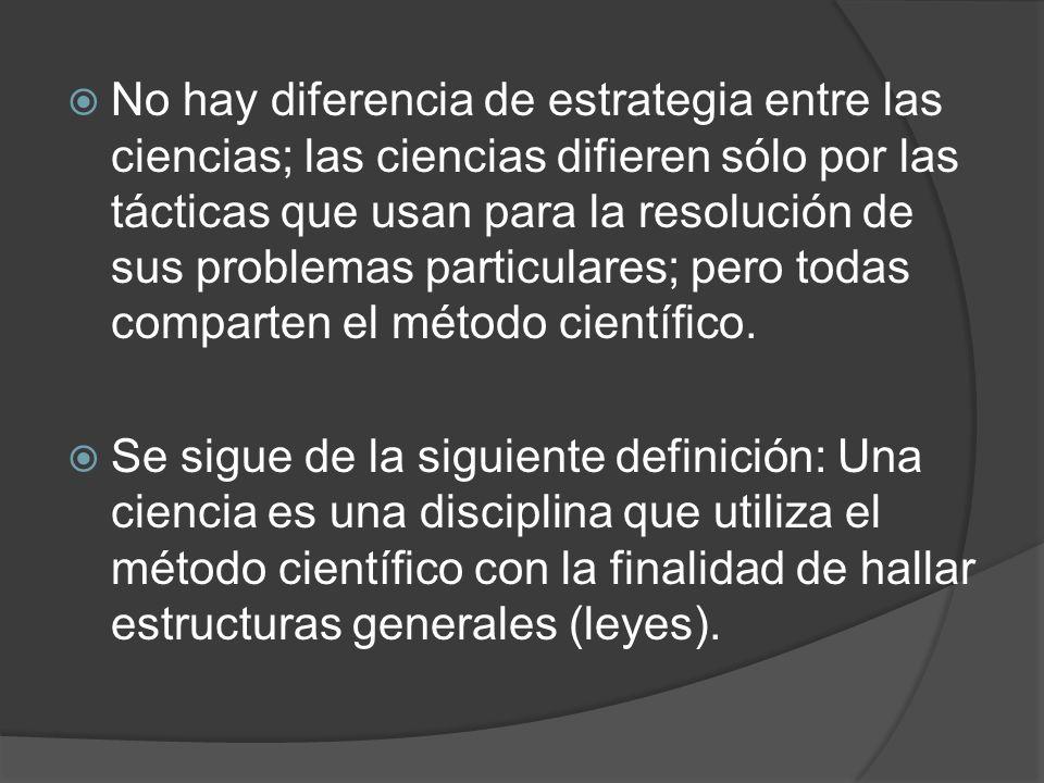 No hay diferencia de estrategia entre las ciencias; las ciencias difieren sólo por las tácticas que usan para la resolución de sus problemas particula
