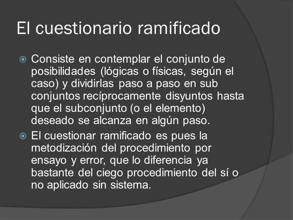 El cuestionario ramificado Consiste en contemplar el conjunto de posibilidades (lógicas o físicas, según el caso) y dividirlas paso a paso en sub conj