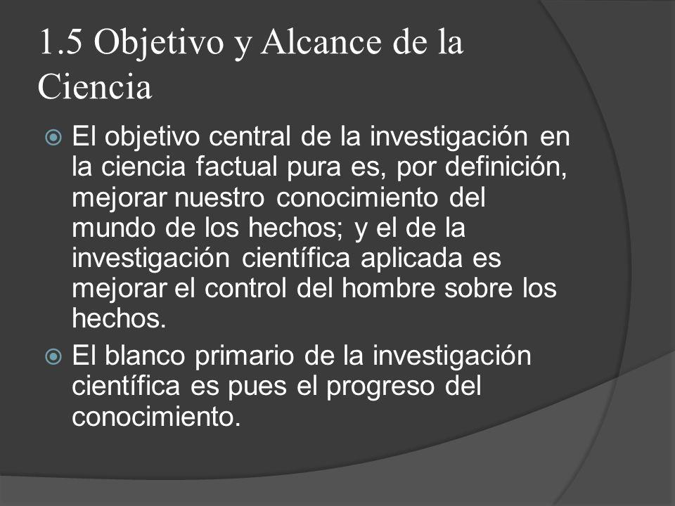1.5 Objetivo y Alcance de la Ciencia El objetivo central de la investigación en la ciencia factual pura es, por definición, mejorar nuestro conocimien