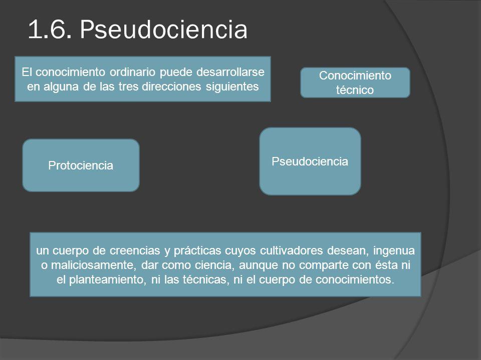 1.6. Pseudociencia El conocimiento ordinario puede desarrollarse en alguna de las tres direcciones siguientes Conocimiento técnico Protociencia Pseudo