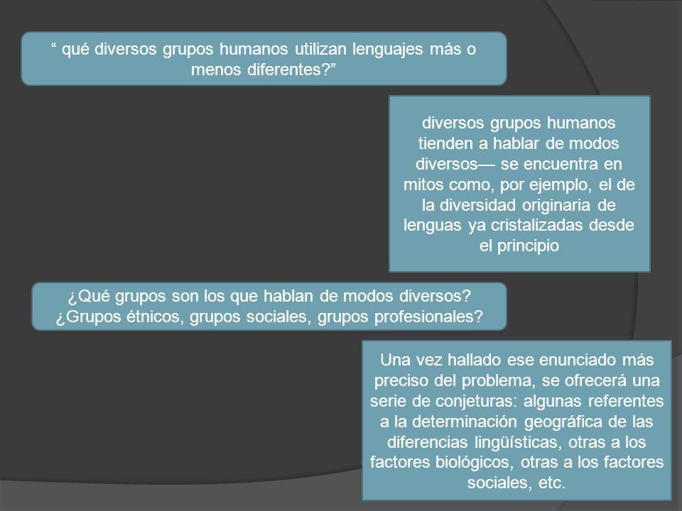 qué diversos grupos humanos utilizan lenguajes más o menos diferentes? diversos grupos humanos tienden a hablar de modos diversos se encuentra en mito