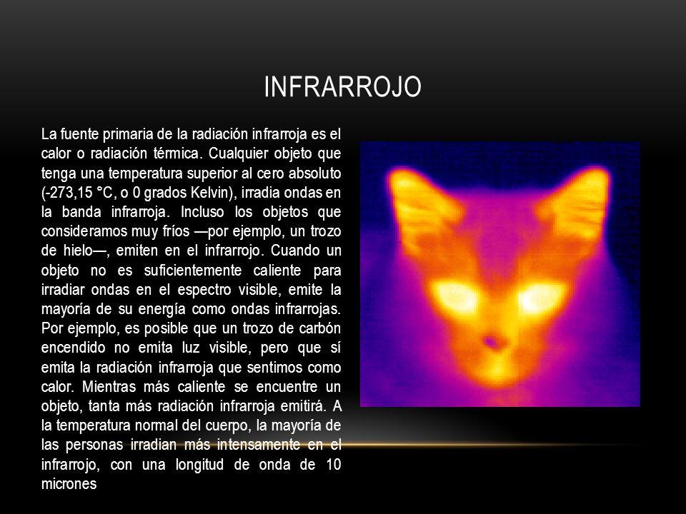 La fuente primaria de la radiación infrarroja es el calor o radiación térmica. Cualquier objeto que tenga una temperatura superior al cero absoluto (-