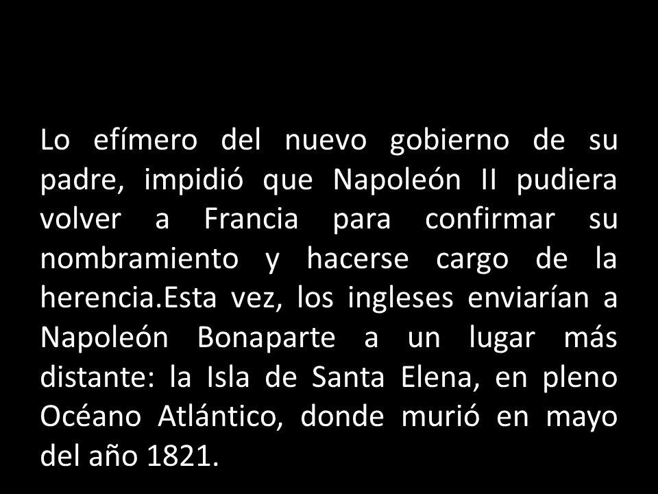 Lo efímero del nuevo gobierno de su padre, impidió que Napoleón II pudiera volver a Francia para confirmar su nombramiento y hacerse cargo de la heren