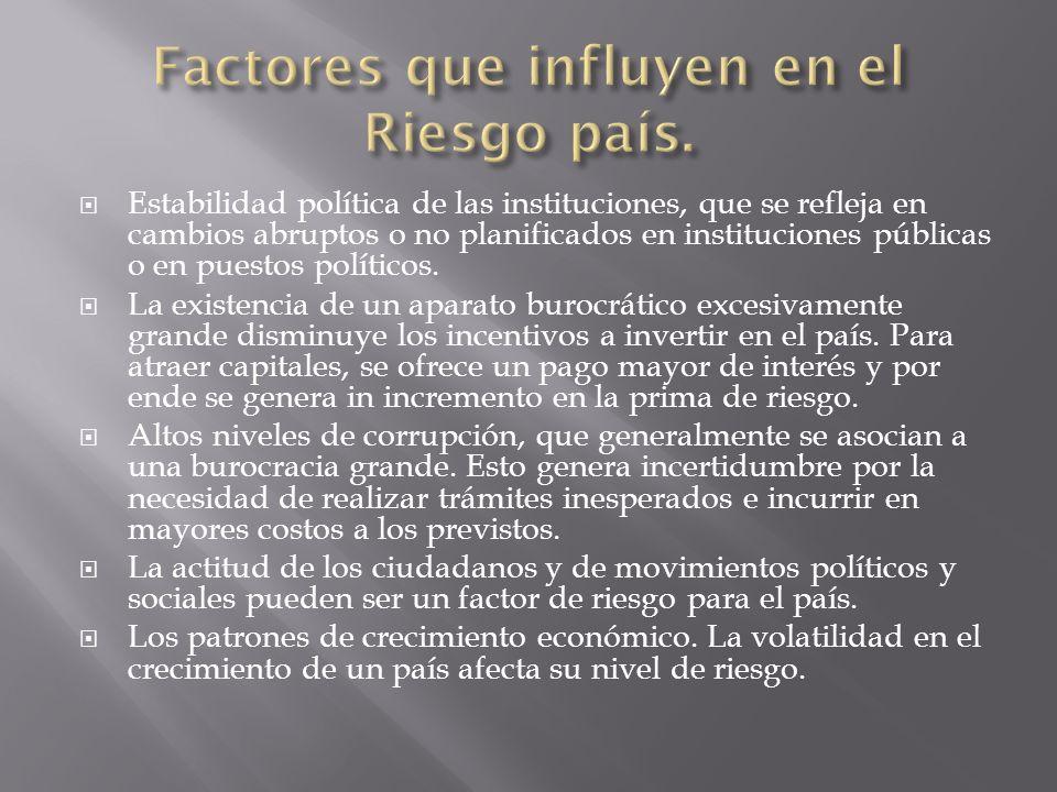 Estabilidad política de las instituciones, que se refleja en cambios abruptos o no planificados en instituciones públicas o en puestos políticos. La e