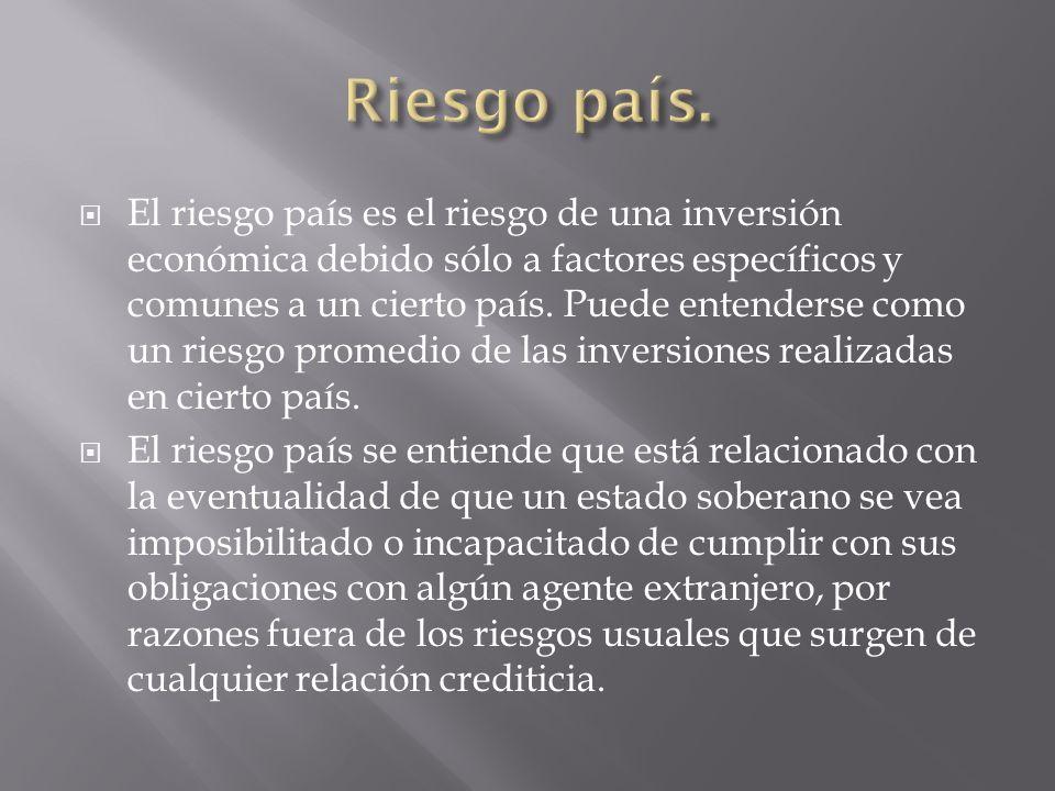 El riesgo país es el riesgo de una inversión económica debido sólo a factores específicos y comunes a un cierto país. Puede entenderse como un riesgo