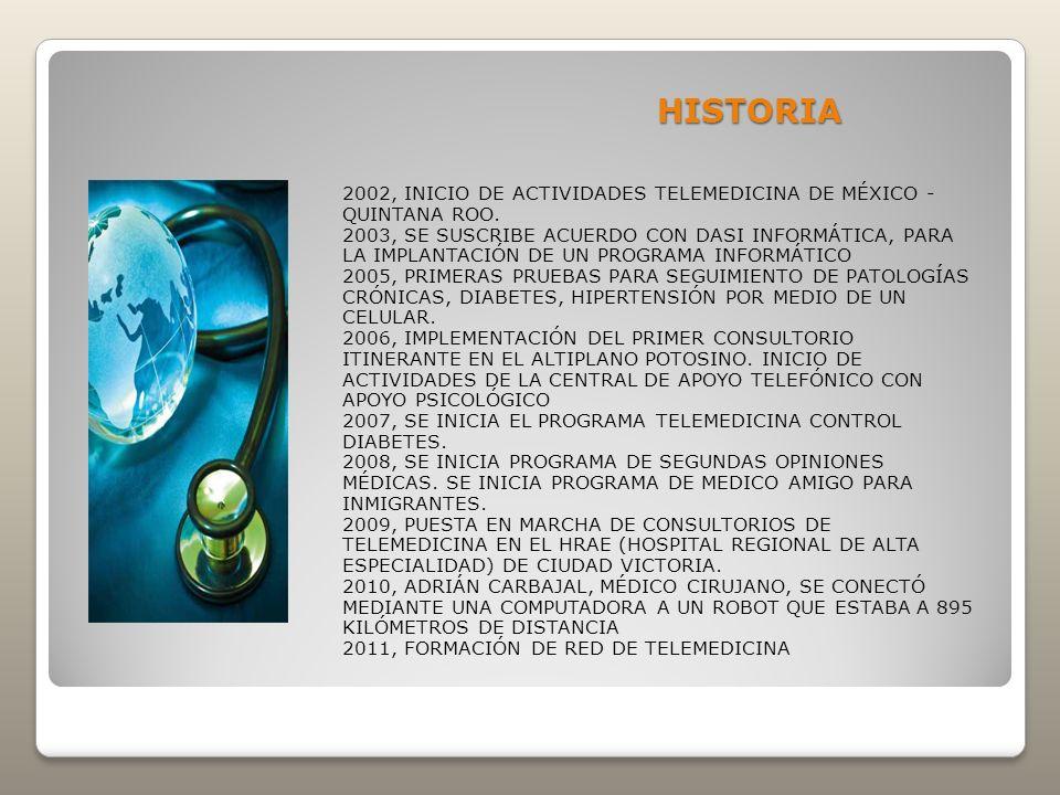 HISTORIA 2002, INICIO DE ACTIVIDADES TELEMEDICINA DE MÉXICO - QUINTANA ROO. 2003, SE SUSCRIBE ACUERDO CON DASI INFORMÁTICA, PARA LA IMPLANTACIÓN DE UN
