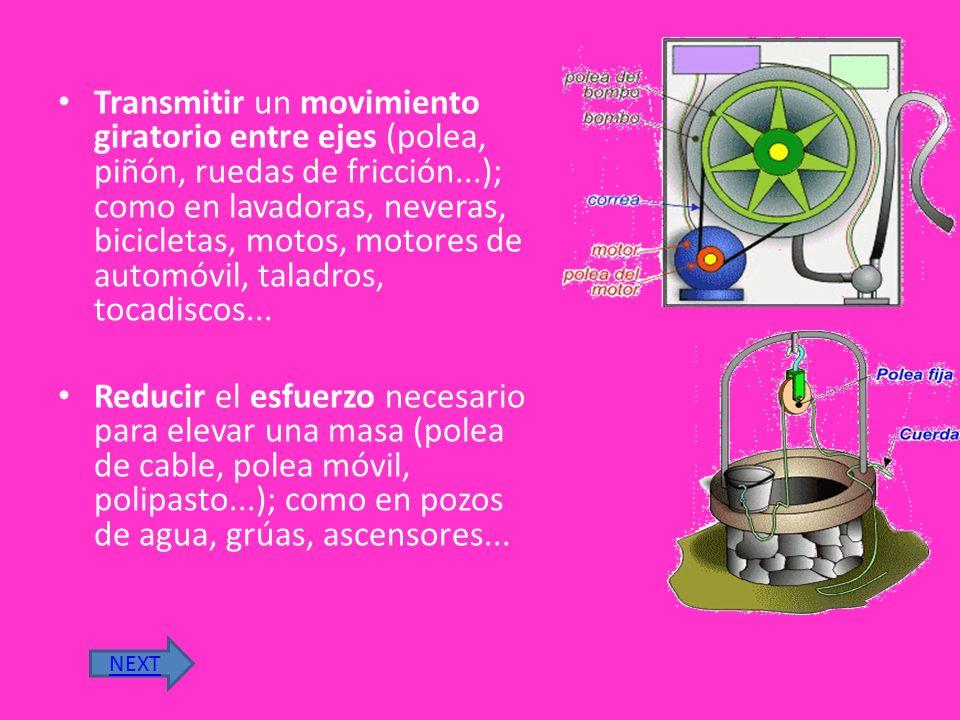 UTILIDAD DE LA RUEDA Facilitar el desplazamiento de objetos reduciendo el rozamiento entre superficies (tren de rodadura, rodillo, rodamiento); como en carretillas, coches, bicicletas, patinetes, pasillos rodantes.