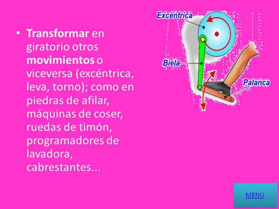 Transmitir un movimiento giratorio entre ejes (polea, piñón, ruedas de fricción...); como en lavadoras, neveras, bicicletas, motos, motores de automóvil, taladros, tocadiscos...