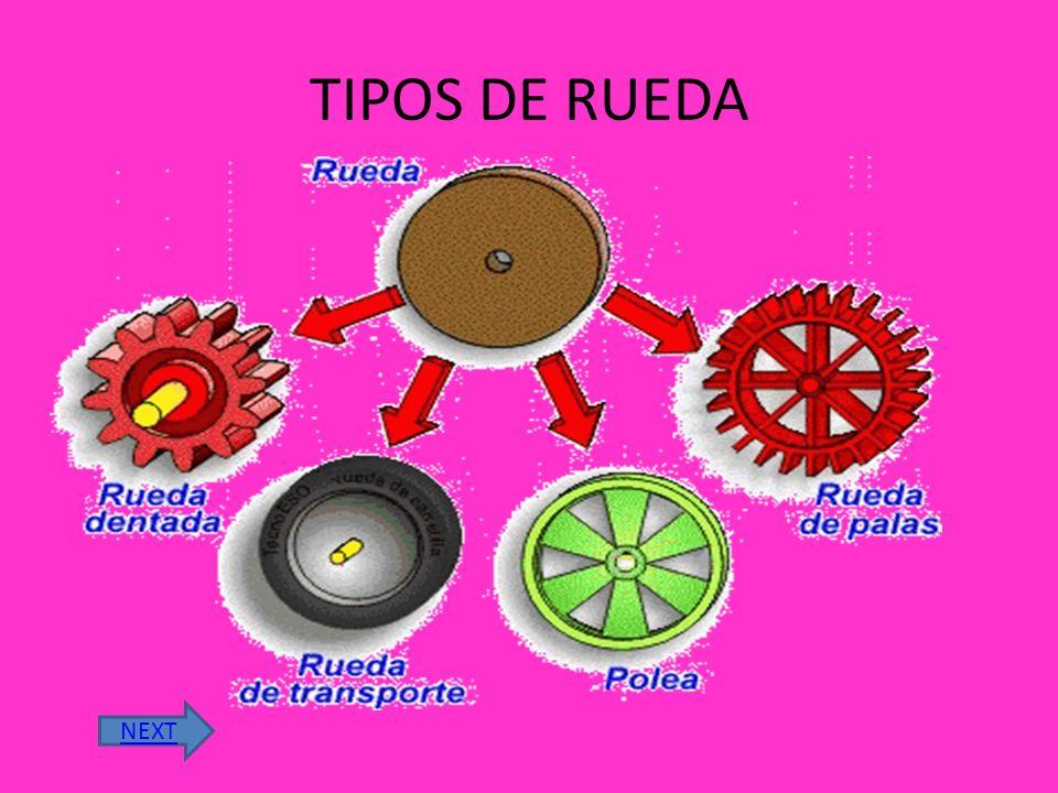 Las primeras ruedas solo simples discos con un aguajero en el centro para insertarlas en un eje. Pero después se invento una rueda con radios que perm