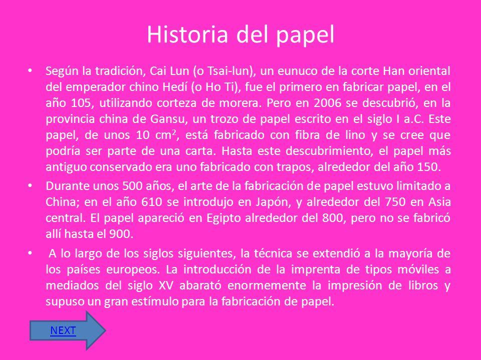 EL PAPEL El papel es una delgada hoja elaborada con pasta de fibras vegetales que son molidas, blanqueadas, diluidas en agua, secadas y endurecidas po