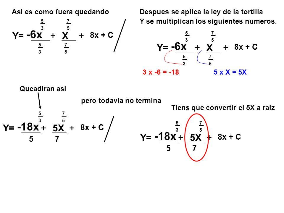 7 5 5 3 Y= -6x 5 3 +X 7 5 + 8x + C Asi es como fuera quedandoDespues se aplica la ley de la tortilla Y se multiplican los siguientes numeros.