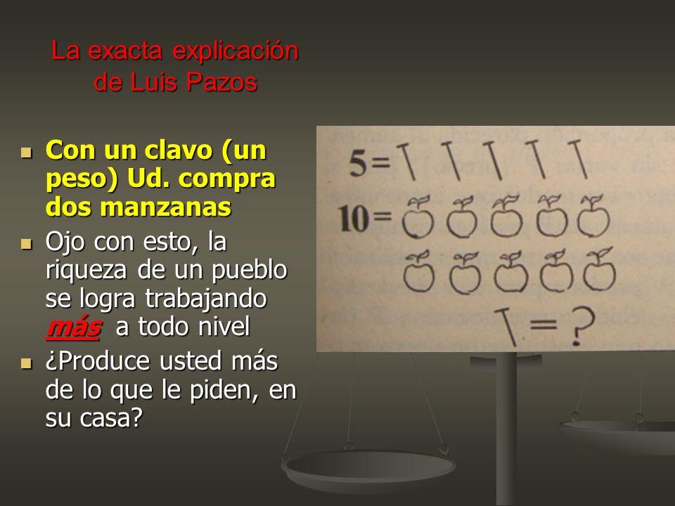 La exacta explicación de Luis Pazos Con un clavo (un peso) Ud. compra dos manzanas Con un clavo (un peso) Ud. compra dos manzanas Ojo con esto, la riq