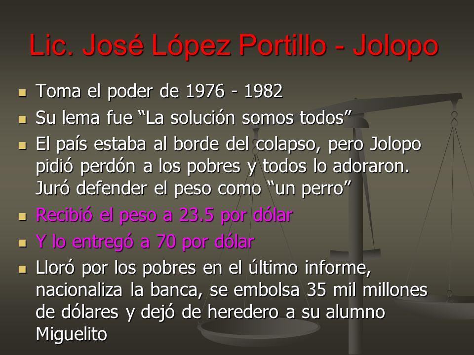 Lic. José López Portillo - Jolopo Toma el poder de 1976 - 1982 Toma el poder de 1976 - 1982 Su lema fue La solución somos todos Su lema fue La solució
