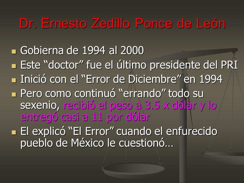 Dr. Ernesto Zedillo Ponce de León Gobierna de 1994 al 2000 Gobierna de 1994 al 2000 Este doctor fue el último presidente del PRI Este doctor fue el úl