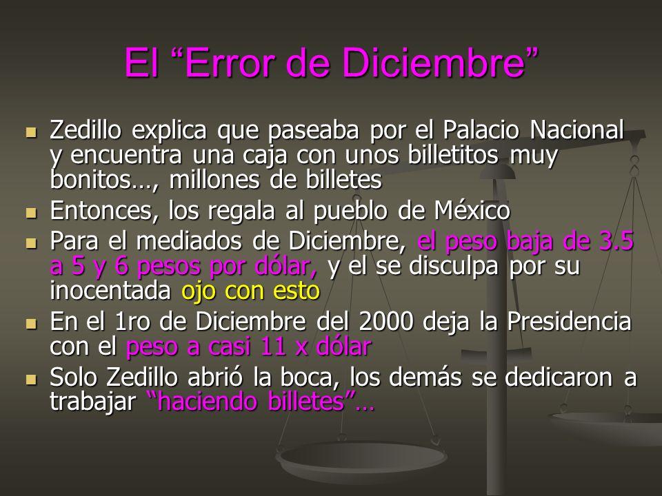 El Error de Diciembre Zedillo explica que paseaba por el Palacio Nacional y encuentra una caja con unos billetitos muy bonitos…, millones de billetes