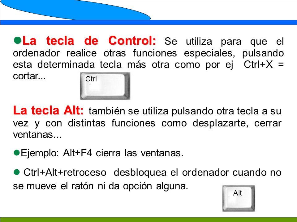 La tecla de Control: La tecla de Control: Se utiliza para que el ordenador realice otras funciones especiales, pulsando esta determinada tecla más otra como por ej Ctrl+X = cortar...