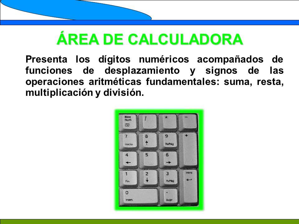 ÁREA DE CALCULADORA Presenta los dígitos numéricos acompañados de funciones de desplazamiento y signos de las operaciones aritméticas fundamentales: suma, resta, multiplicación y división.