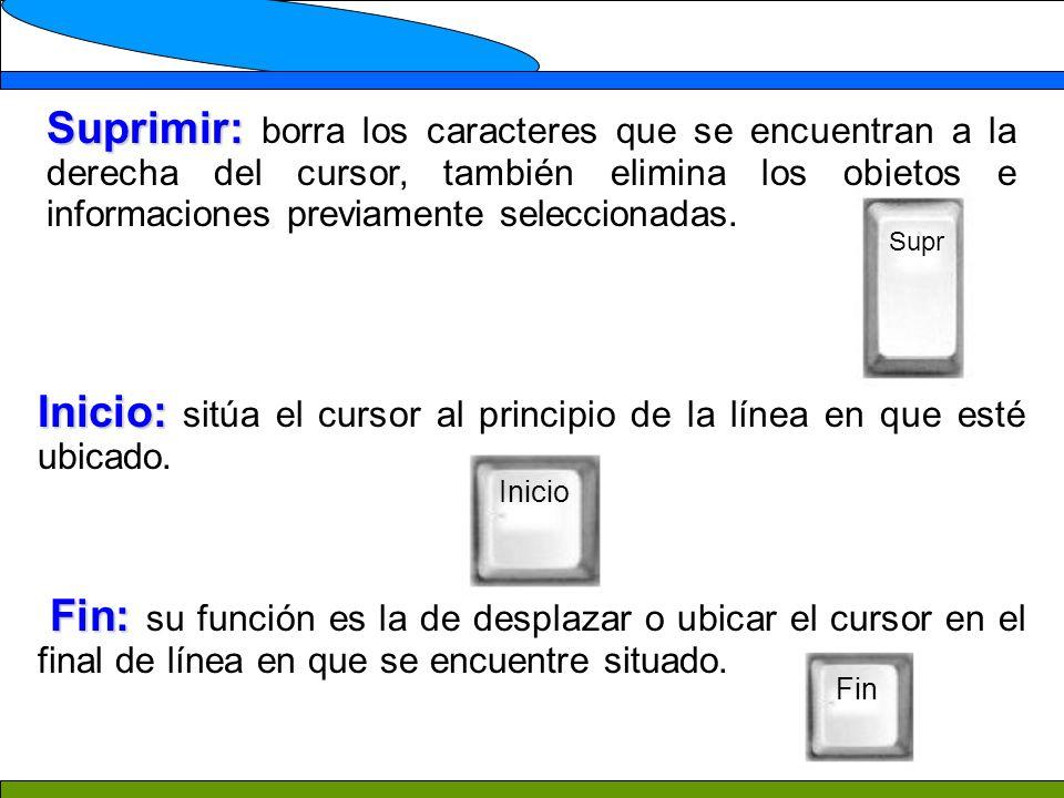 Suprimir: Suprimir: borra los caracteres que se encuentran a la derecha del cursor, también elimina los objetos e informaciones previamente seleccionadas.