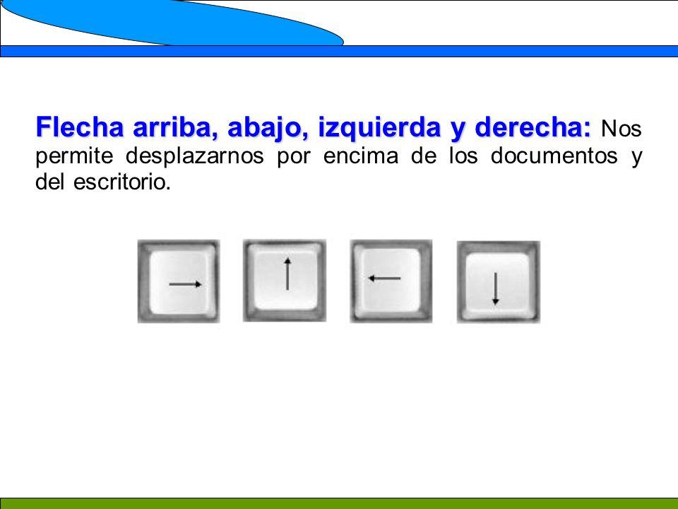 Flecha arriba, abajo, izquierda y derecha: Flecha arriba, abajo, izquierda y derecha: Nos permite desplazarnos por encima de los documentos y del escritorio.