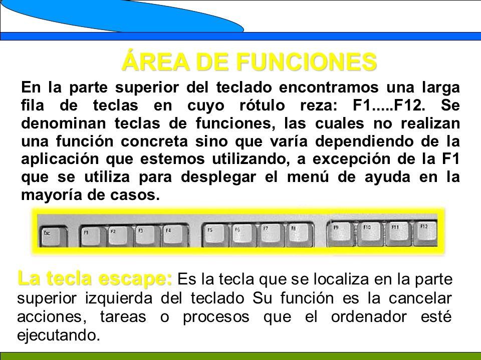 ÁREA DE FUNCIONES En la parte superior del teclado encontramos una larga fila de teclas en cuyo rótulo reza: F1.....F12. Se denominan teclas de funcio