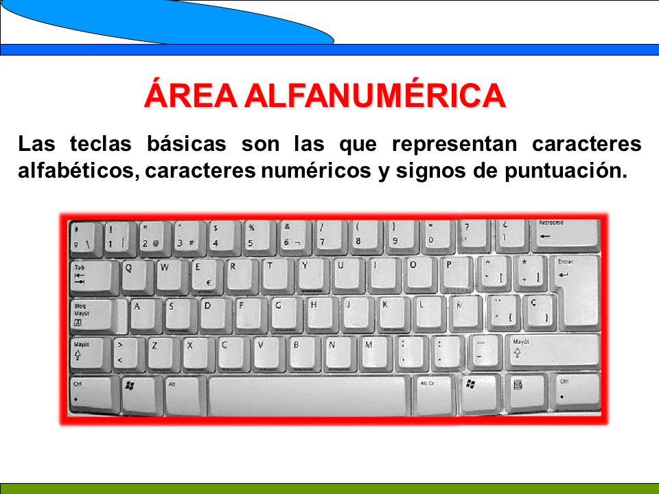 ÁREA ALFANUMÉRICA Las teclas básicas son las que representan caracteres alfabéticos, caracteres numéricos y signos de puntuación.