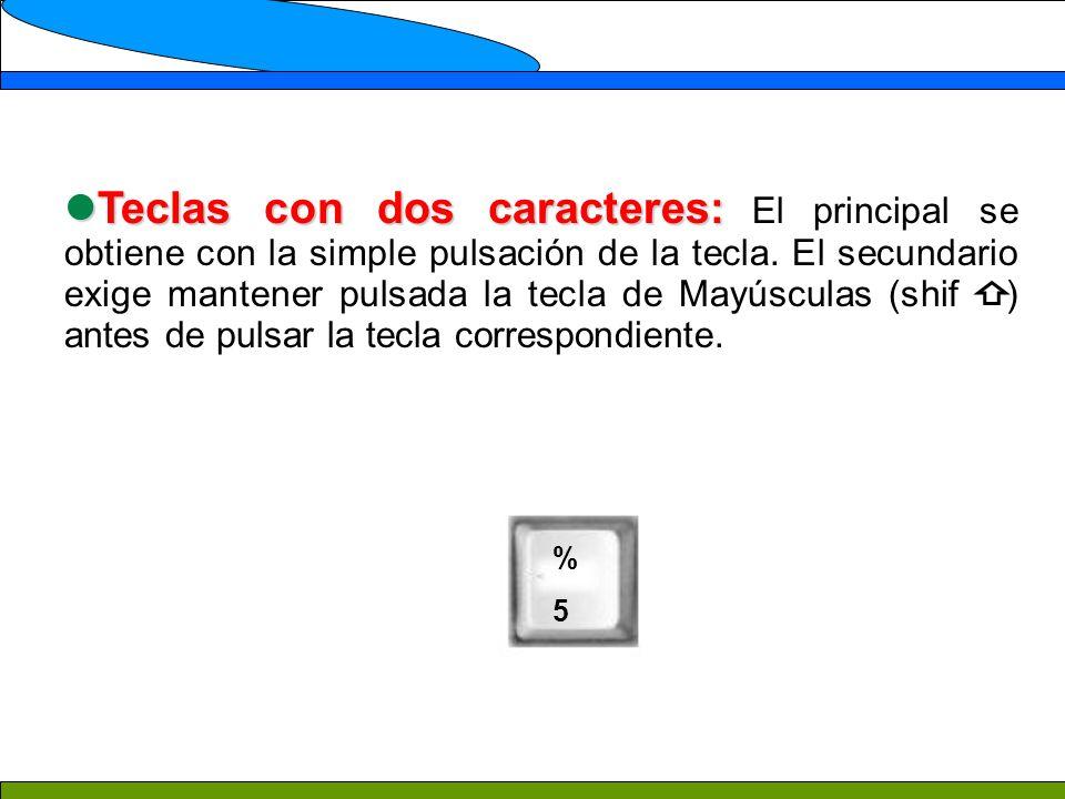 Teclas con dos caracteres: Teclas con dos caracteres: El principal se obtiene con la simple pulsación de la tecla. El secundario exige mantener pulsad