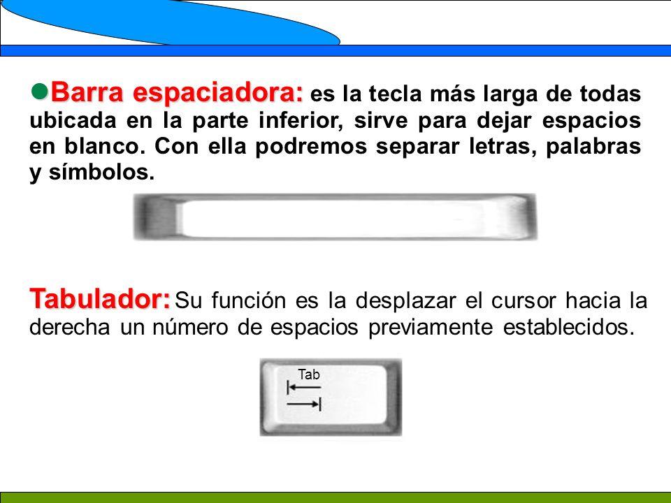 Barra espaciadora: Barra espaciadora: es la tecla más larga de todas ubicada en la parte inferior, sirve para dejar espacios en blanco.