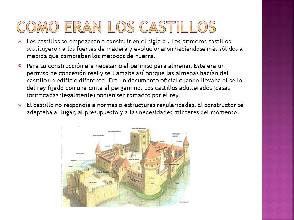 Los castillos se empezaron a construir en el siglo X. Los primeros castillos sustituyeron a los fuertes de madera y evolucionaron haciéndose más sólid