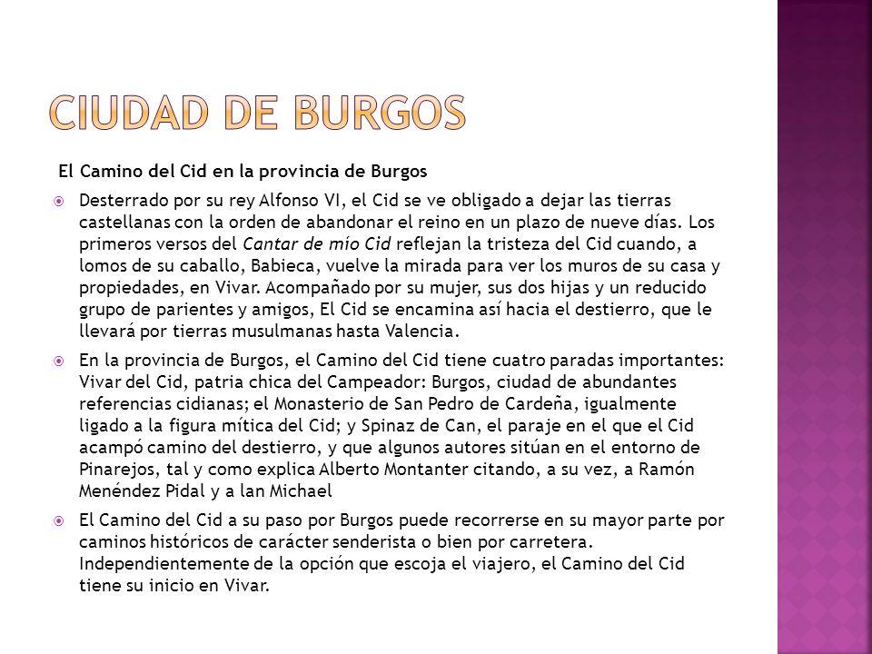 El Camino del Cid en la provincia de Burgos Desterrado por su rey Alfonso VI, el Cid se ve obligado a dejar las tierras castellanas con la orden de ab