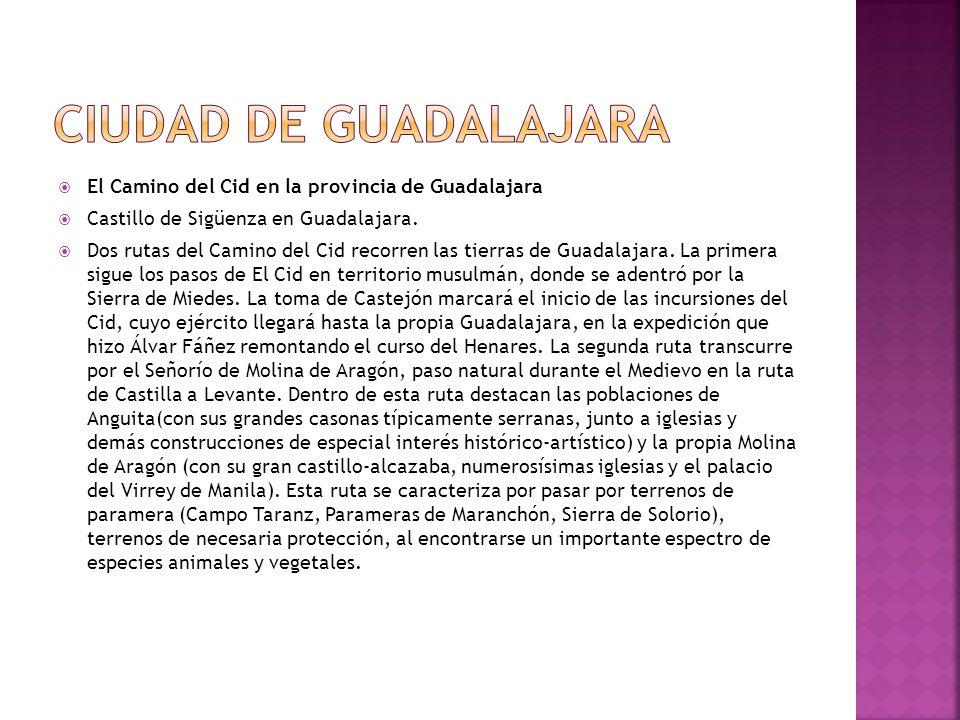 El Camino del Cid en la provincia de Guadalajara Castillo de Sigüenza en Guadalajara. Dos rutas del Camino del Cid recorren las tierras de Guadalajara