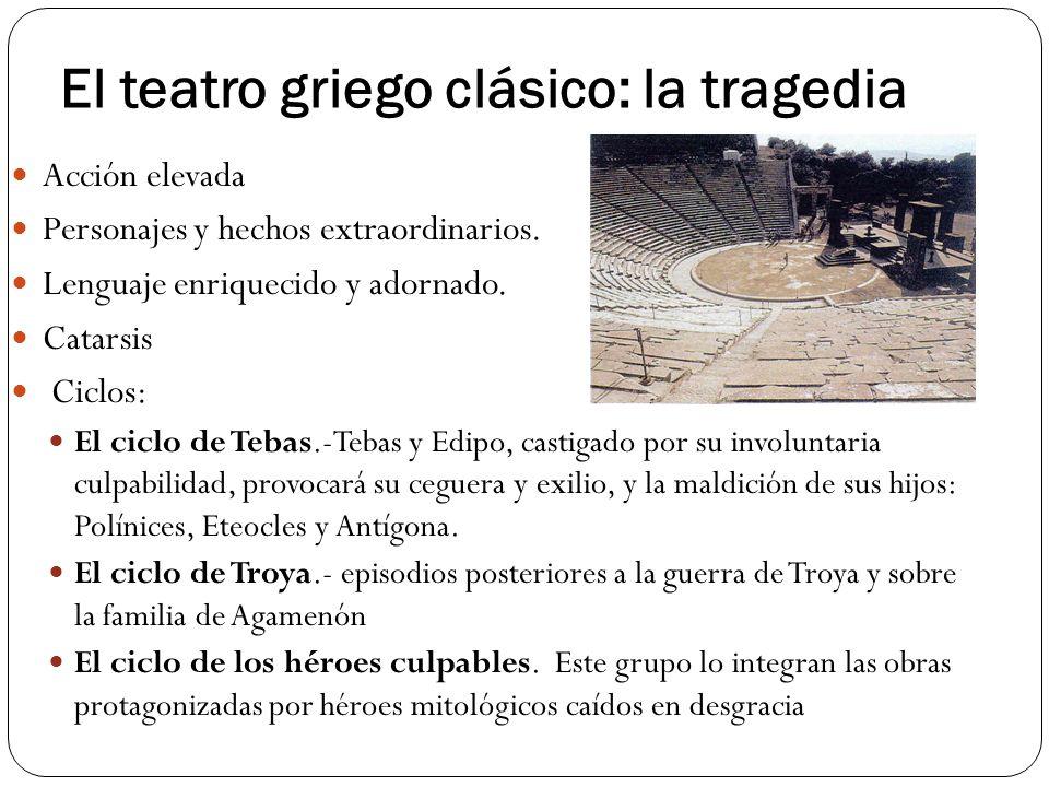 El teatro griego clásico: la tragedia Acción elevada Personajes y hechos extraordinarios. Lenguaje enriquecido y adornado. Catarsis Ciclos: El ciclo d
