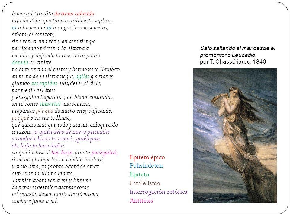 Inmortal Afrodita de trono colorido, hija de Zeus, que tramas ardides, te suplico: ni a tormentos ni a angustias me sometas, señora, el corazón; sino