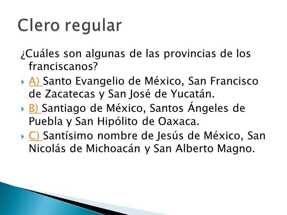 ¿Cuáles son algunas de las provincias de los franciscanos? A) Santo Evangelio de México, San Francisco de Zacatecas y San José de Yucatán. A) B) Santi