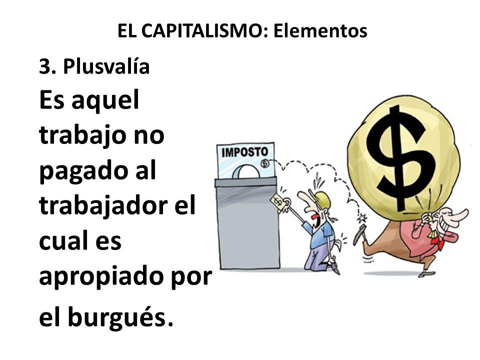 EL CAPITALISMO: Elementos 3. Plusvalía Es aquel trabajo no pagado al trabajador el cual es apropiado por el burgués.