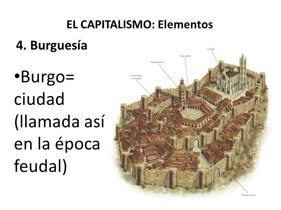 EL CAPITALISMO: Elementos 4. Burguesía Burgo= ciudad (llamada así en la época feudal)