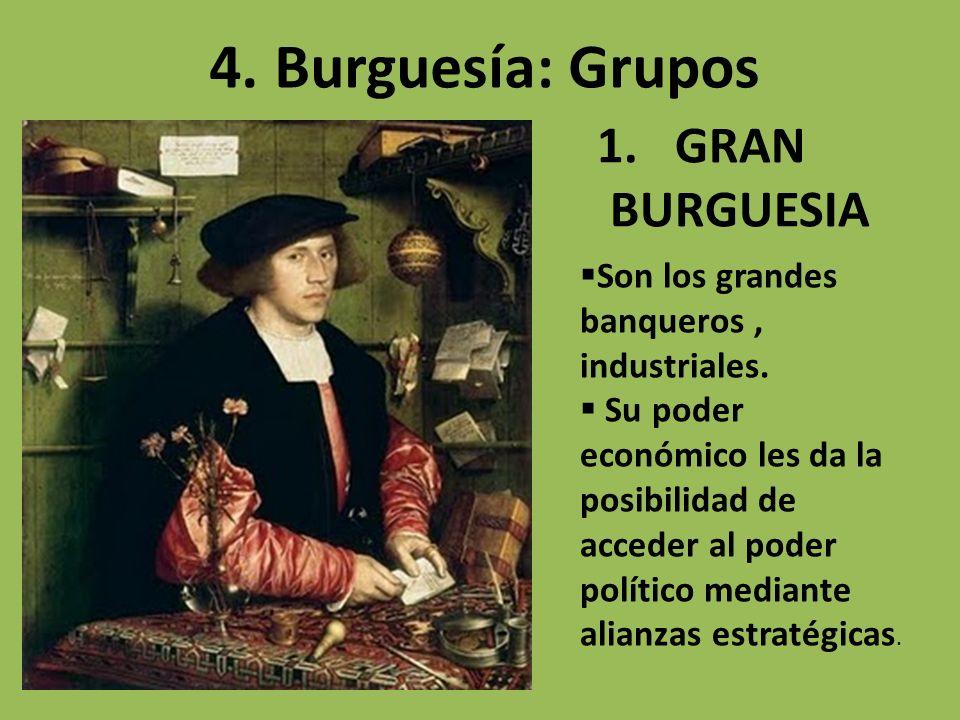 1.GRAN BURGUESIA 4. Burguesía: Grupos Son los grandes banqueros, industriales. Su poder económico les da la posibilidad de acceder al poder político m