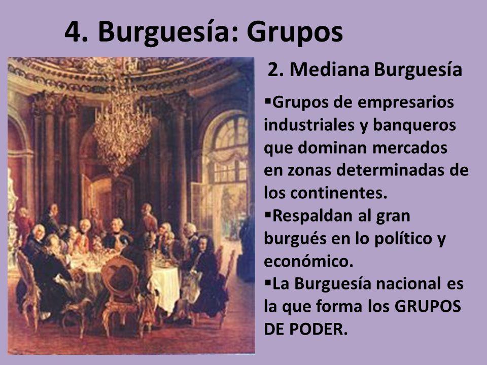 4. Burguesía: Grupos 2. Mediana Burguesía Grupos de empresarios industriales y banqueros que dominan mercados en zonas determinadas de los continentes