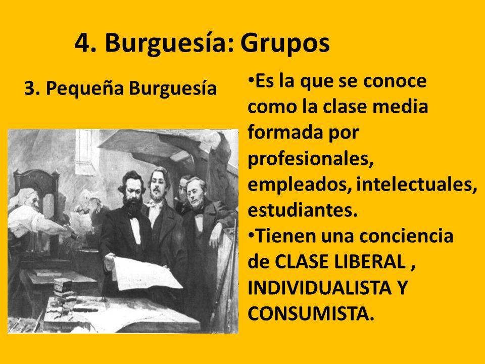 4. Burguesía: Grupos 3. Pequeña Burguesía Es la que se conoce como la clase media formada por profesionales, empleados, intelectuales, estudiantes. Ti