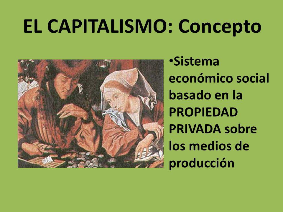 EL CAPITALISMO: Concepto Sistema económico social basado en la PROPIEDAD PRIVADA sobre los medios de producción