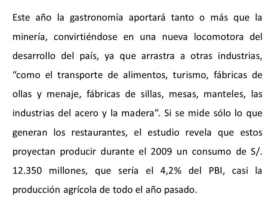Este año la gastronomía aportará tanto o más que la minería, convirtiéndose en una nueva locomotora del desarrollo del país, ya que arrastra a otras i