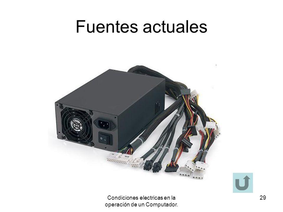 Condiciones electricas en la operación de un Computador. 29 Fuentes actuales