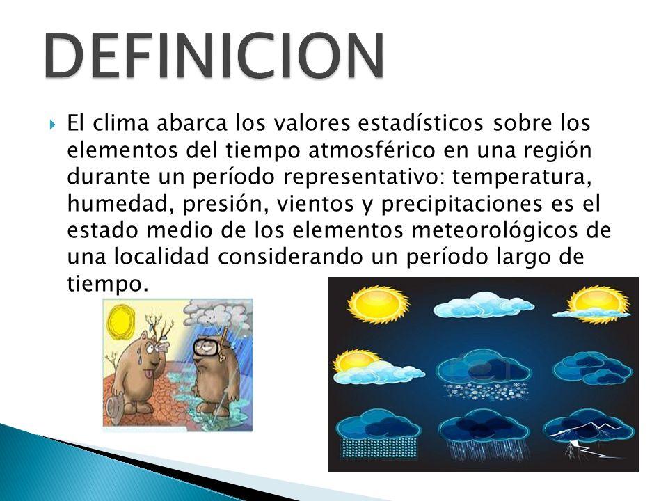 El clima abarca los valores estadísticos sobre los elementos del tiempo atmosférico en una región durante un período representativo: temperatura, hume