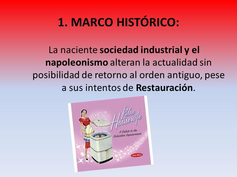 La naciente sociedad industrial y el napoleonismo alteran la actualidad sin posibilidad de retorno al orden antiguo, pese a sus intentos de Restauraci