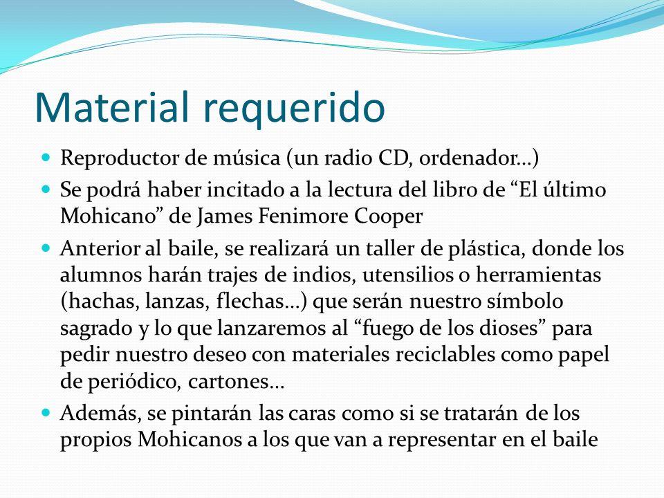 Material requerido Reproductor de música (un radio CD, ordenador…) Se podrá haber incitado a la lectura del libro de El último Mohicano de James Fenim