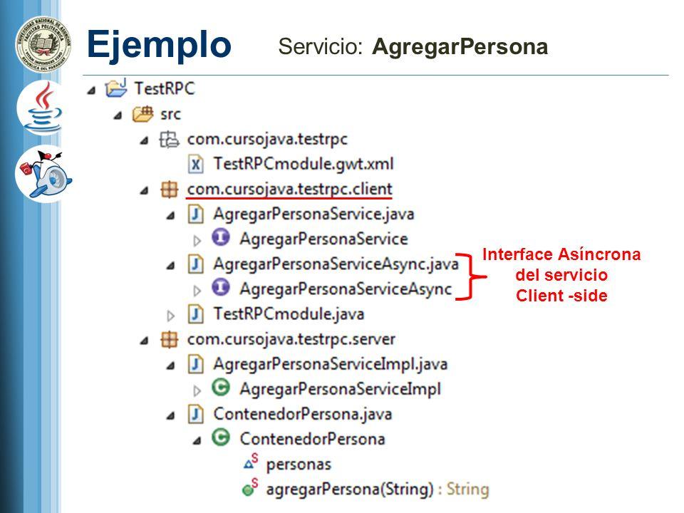 Ejemplo Servicio: AgregarPersona Interface Asíncrona del servicio Client -side