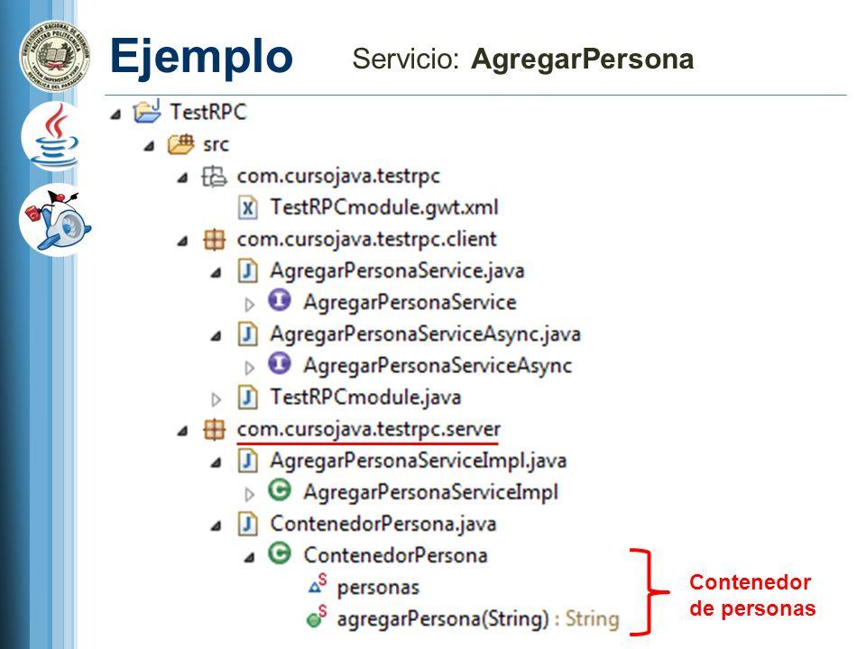 Ejemplo Servicio: AgregarPersona Contenedor de personas