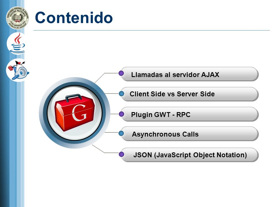 Contenido Llamadas al servidor AJAX Client Side vs Server Side Asynchronous Calls JSON (JavaScript Object Notation) Plugin GWT - RPC
