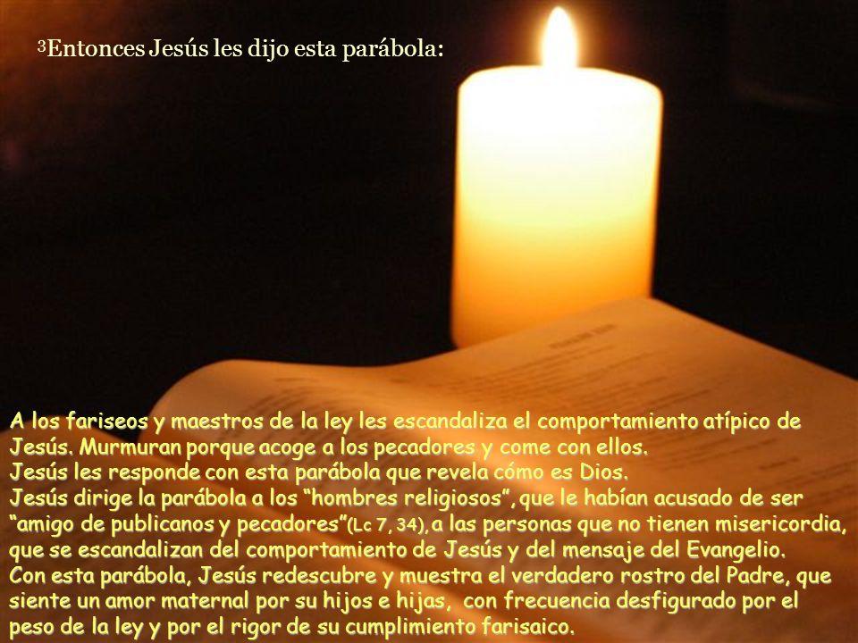 Otra edición y publicación gratuita de www.vitanoblepowerpoints.net 3 Entonces Jesús les dijo esta parábola: A los fariseos y maestros de la ley les escandaliza el comportamiento atípico de Jesús.